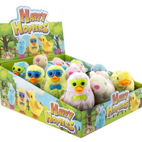 Happy hoppers-big plush jumping chicken and bunny/12db húsvéti ugráló figurák cukorkával