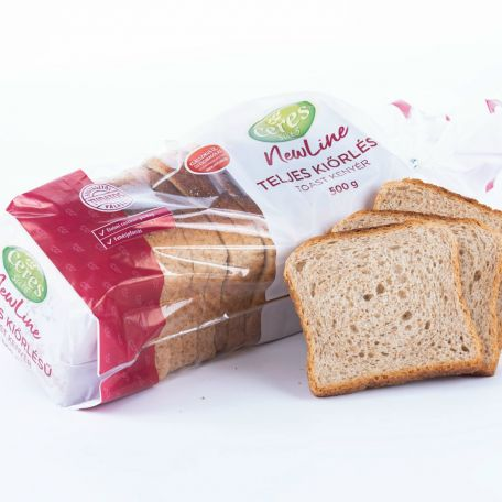 Teljes kiőrlésű toast kenyér szeletelt, csomagolt 500g