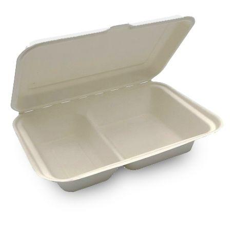Komposztálható 2 részes cukornád menübox 50db/csomag