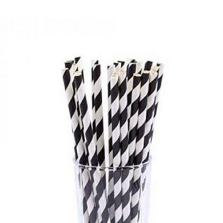 Papír fekete-fehér csavart szívószál 200db/csomag