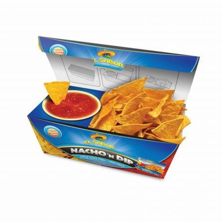 El Sabor salsa nacho and dip tortilla chips 175g