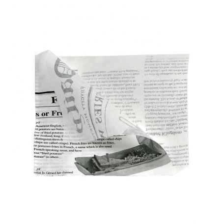 Újságmintás pita/hamburger/szendvics papír csomagoló 170x170mm 1000db/csomag