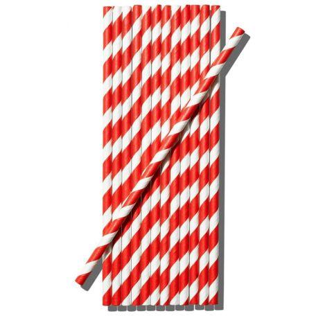 Papír piros-fehér csavart szívószál 200db/csomag