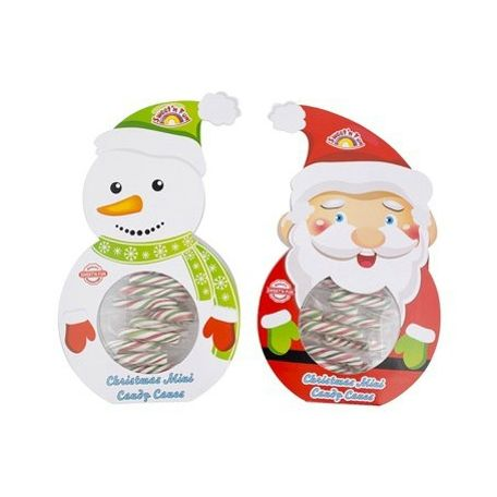 Mini candy canes in xmas santa/snowman giftbox 50g / 8